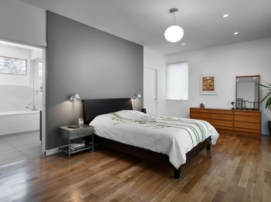 Murs et ameublement chambre tout en gris tendance - Deco chambre gris blanc ...