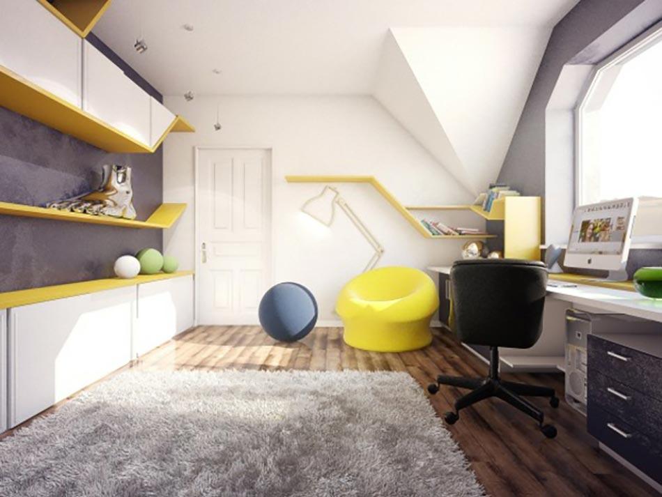 Chambre ado au design d co sympa et original design feria - Chambre ado jaune et blanc ...