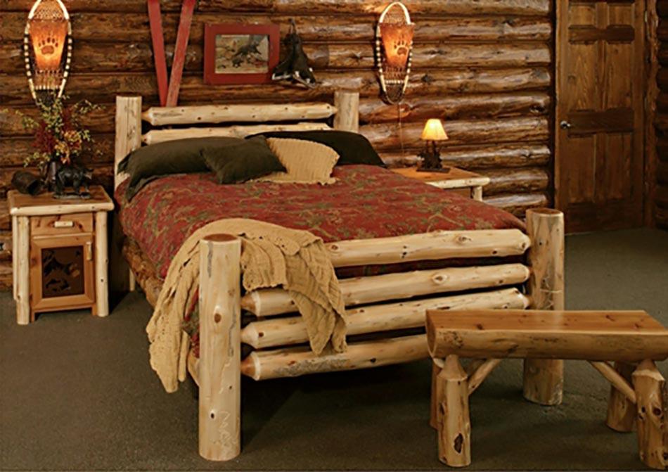 15 chambres de caract re l aide d un lit rustique design feria - Meuble en rondin de bois ...