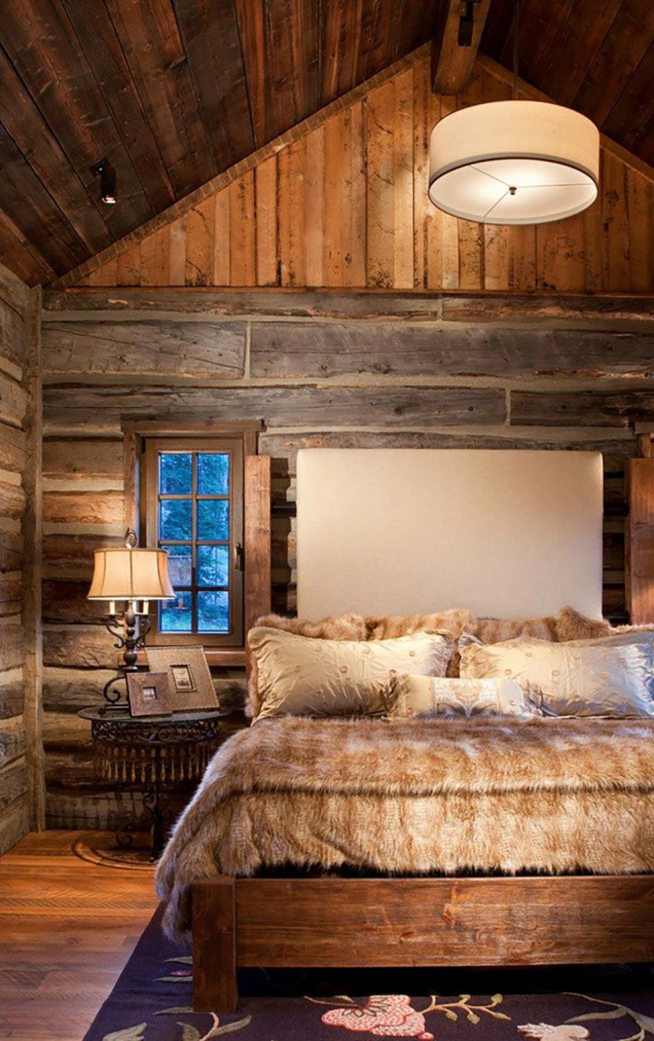 l esprit montagne refl t dans une chambre rustique design feria. Black Bedroom Furniture Sets. Home Design Ideas