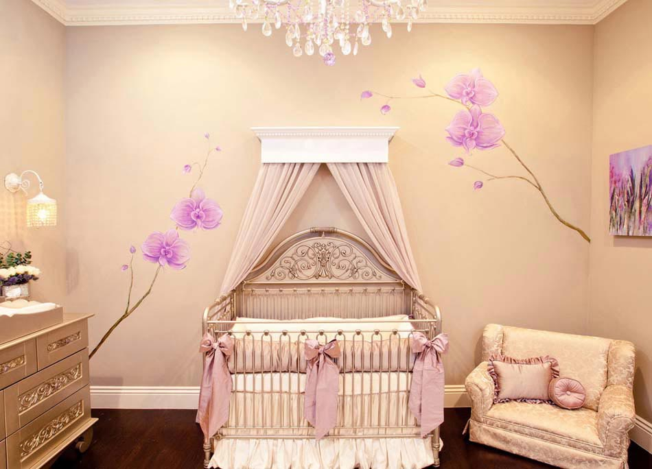 D co chambre b b le voilage et le ciel de lit magiques for Chambre de luxe pour bebe