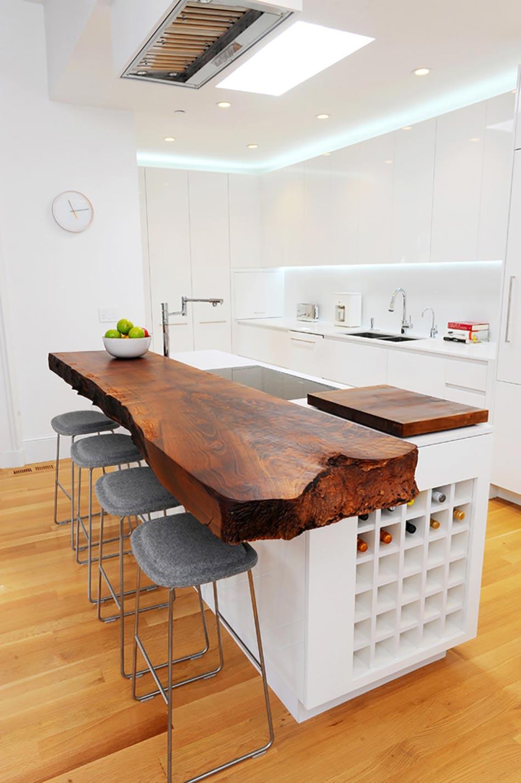 Cuisine minimaliste au design contemporain en blanc - Table de cuisine originale ...