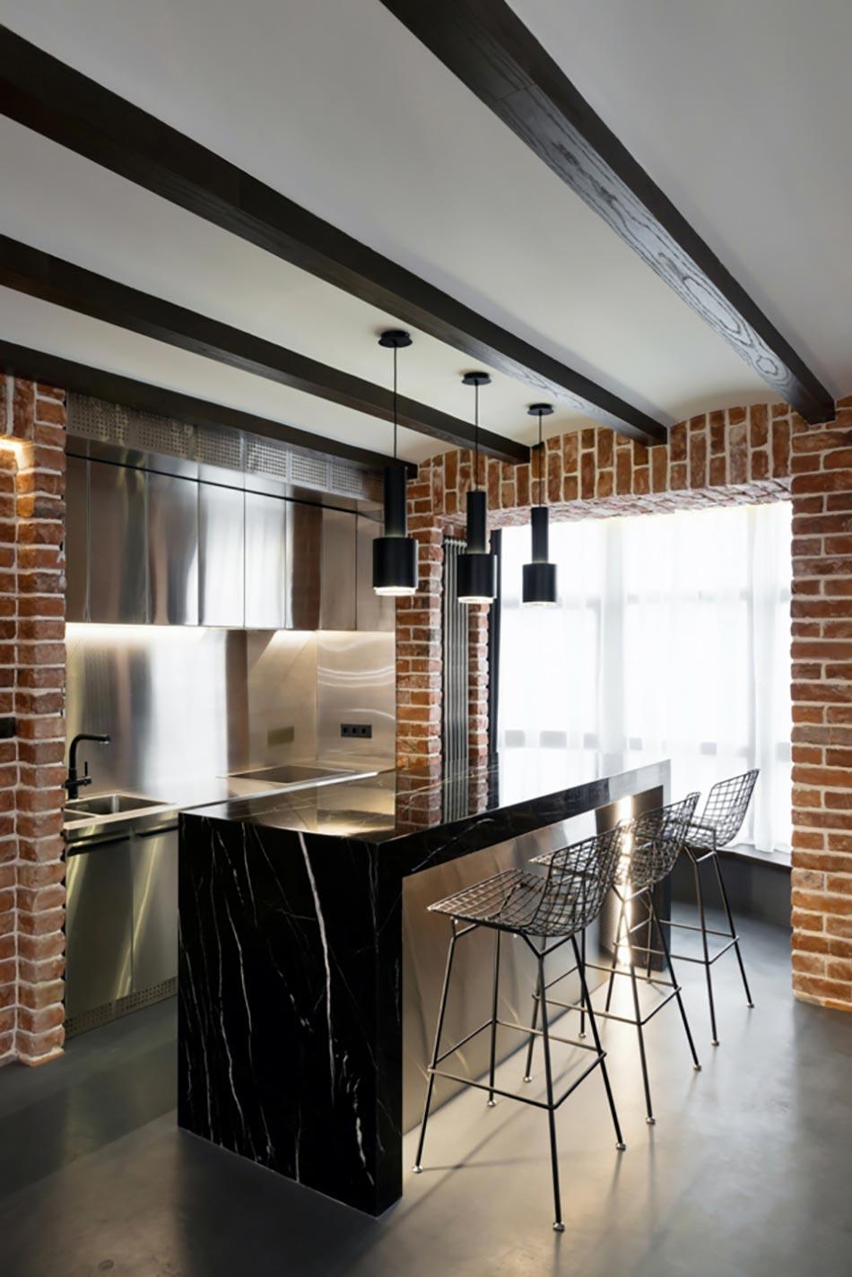 petite cuisine style industriel. Black Bedroom Furniture Sets. Home Design Ideas