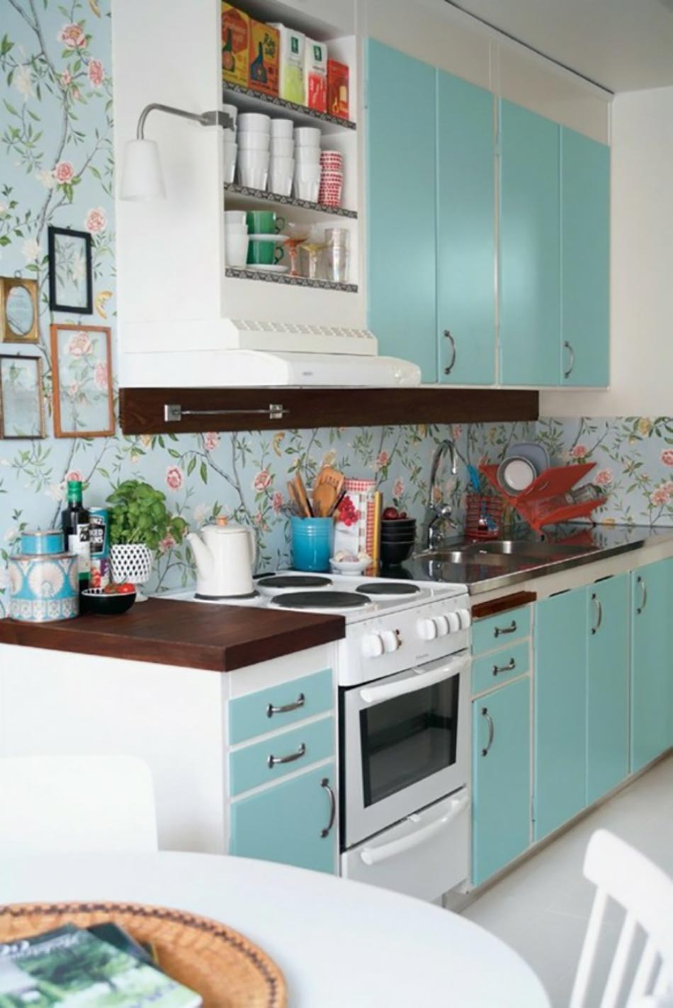 decoration cuisine turquoise. Black Bedroom Furniture Sets. Home Design Ideas