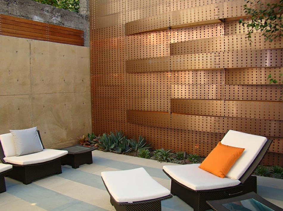 patio mur en cuivre design architecte