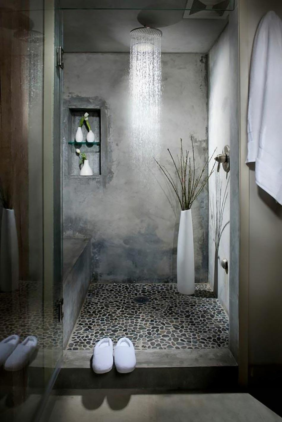 Des teintes sombres pour une salle de bain moderne for Decoration de douche