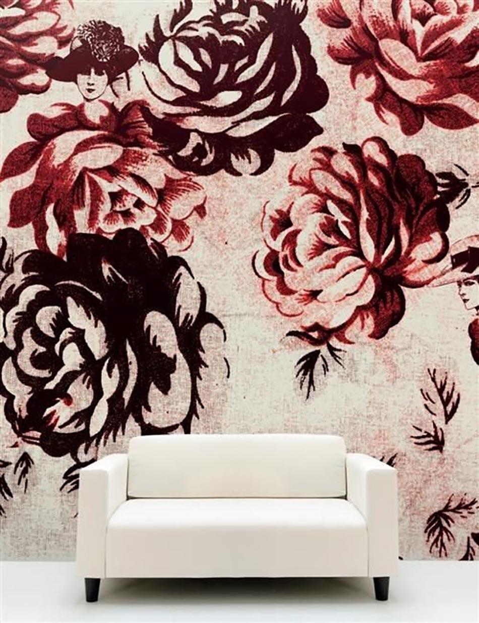 d co maison printani re l aide des papiers peints en fleurs design feria. Black Bedroom Furniture Sets. Home Design Ideas