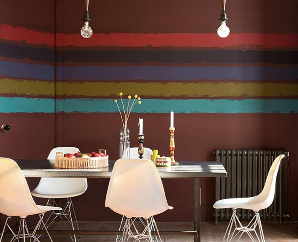 Salle à Manger à La Déco Créative Murale En Rayures