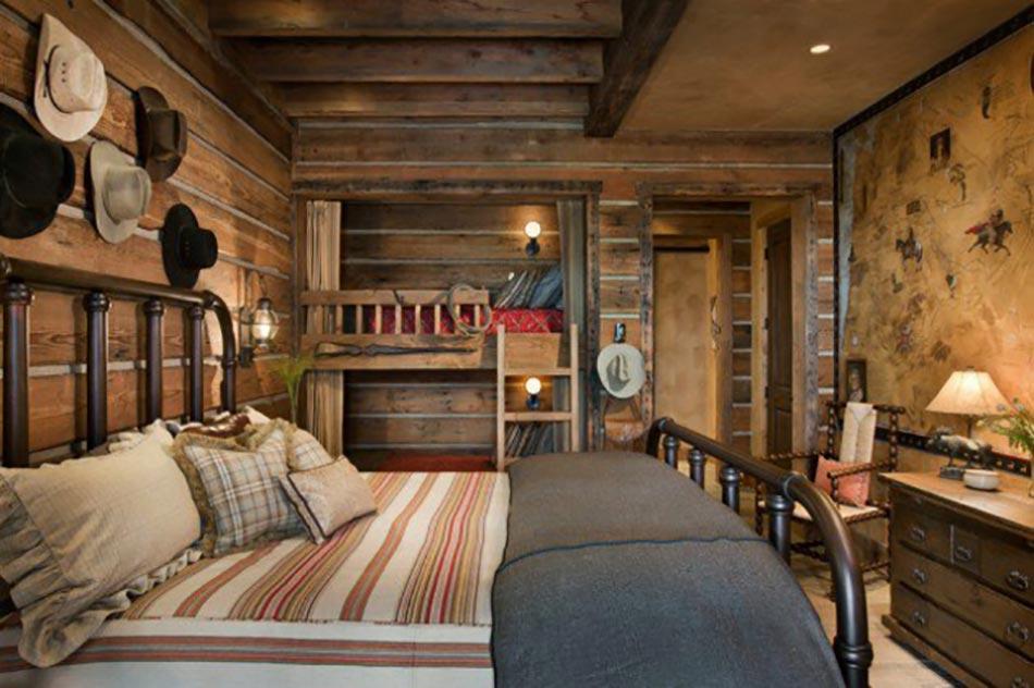 L esprit montagne refl t dans une chambre rustique design feria - Deco stijl chalet ...