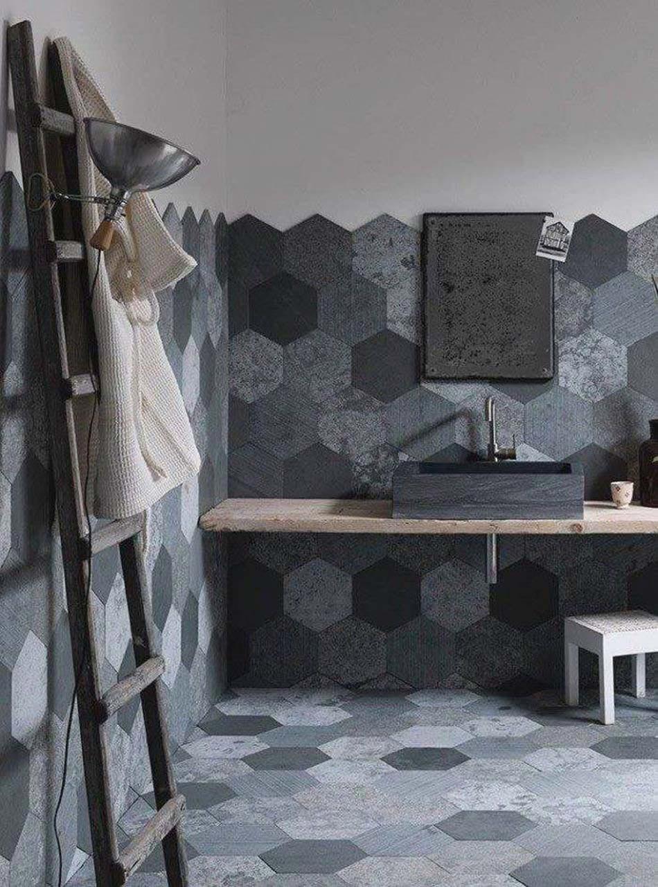 Carrelage design l inspiration g om trique pour la salle de bains design - Salle de bain design gris ...