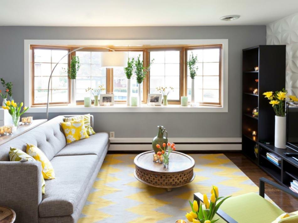 Le jaune pour une d coration int rieure joyeuse design feria - Deco salon jaune gris blanc ...