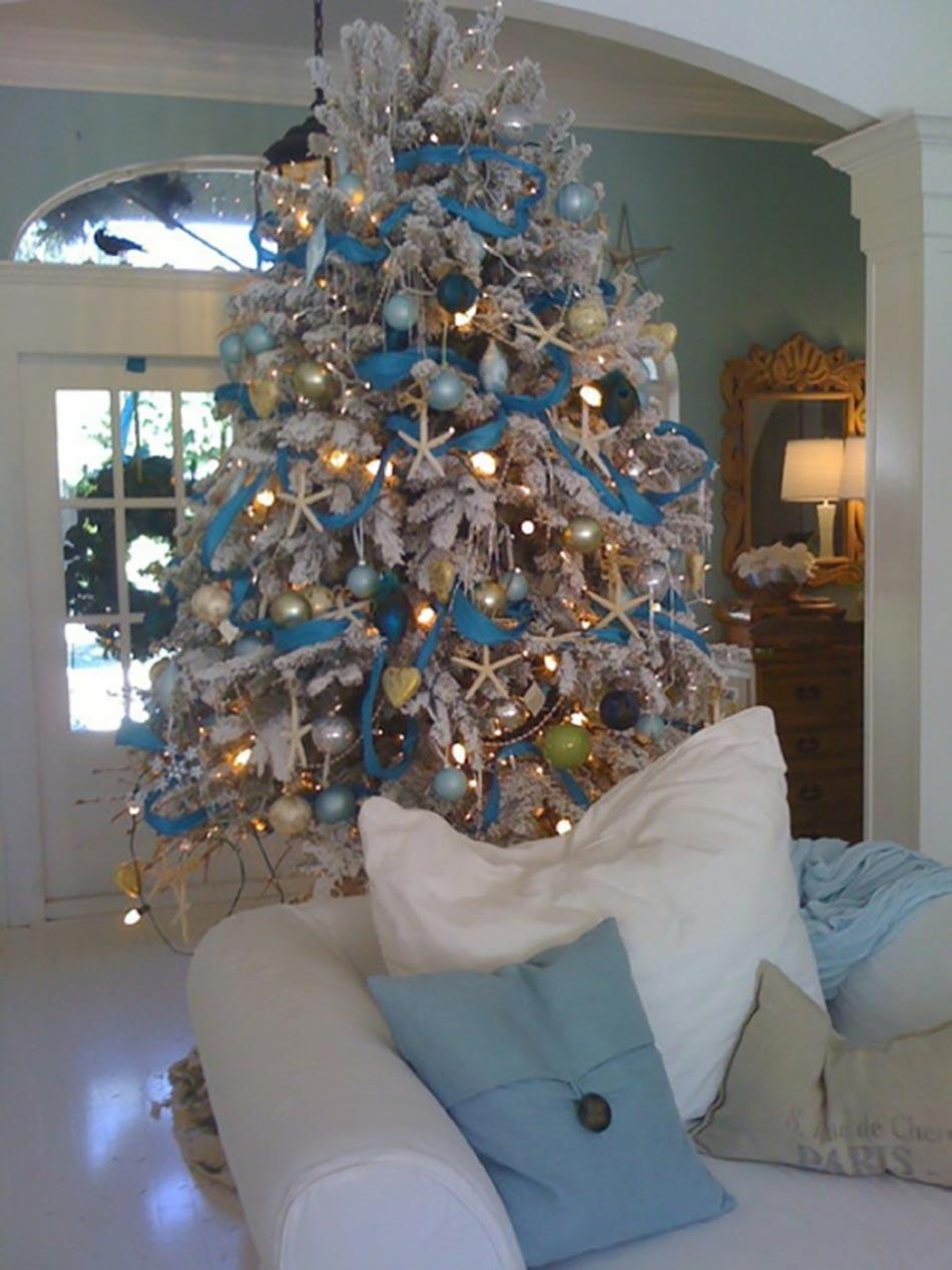 Decoration Sapin De Noel Blanc Et Bleu