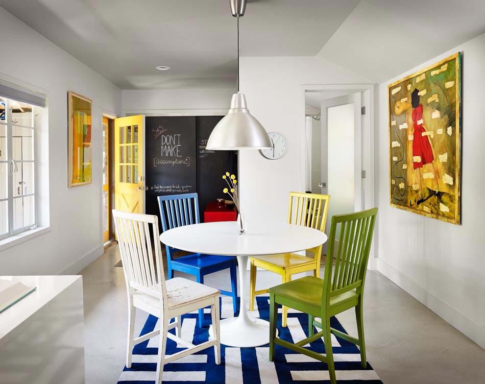 Les chaises d pareill es qui gayent l ambiance de la salle manger moderne design feria for Idee salle a manger