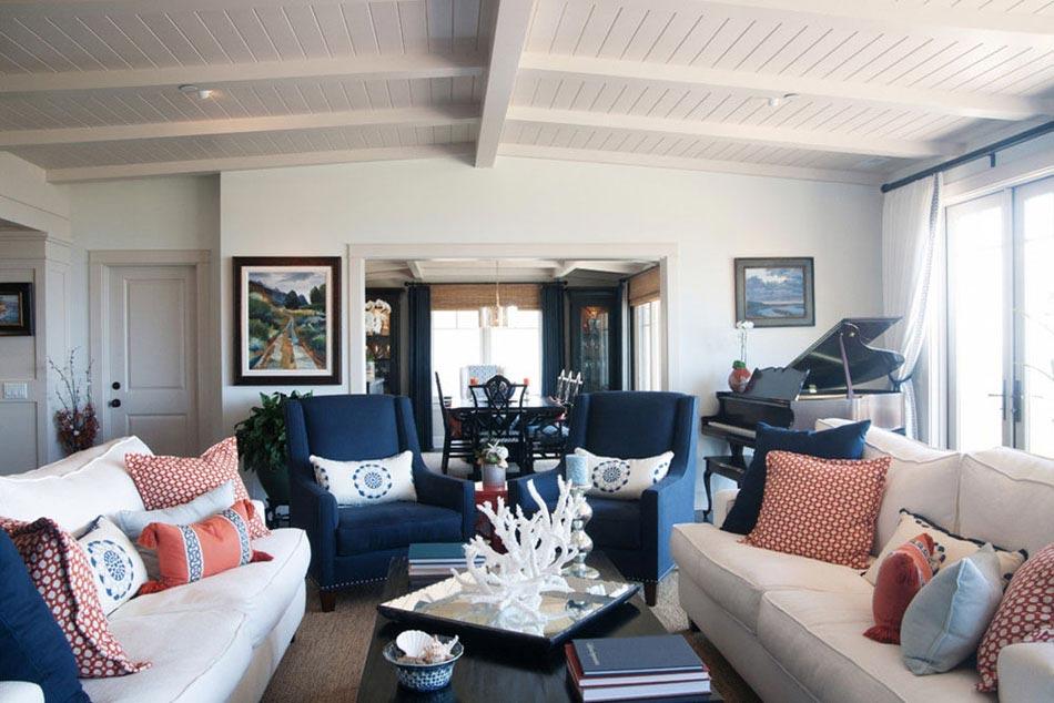 15 id es int ressantes pour d corer un salon dans les tons bleus design feria. Black Bedroom Furniture Sets. Home Design Ideas