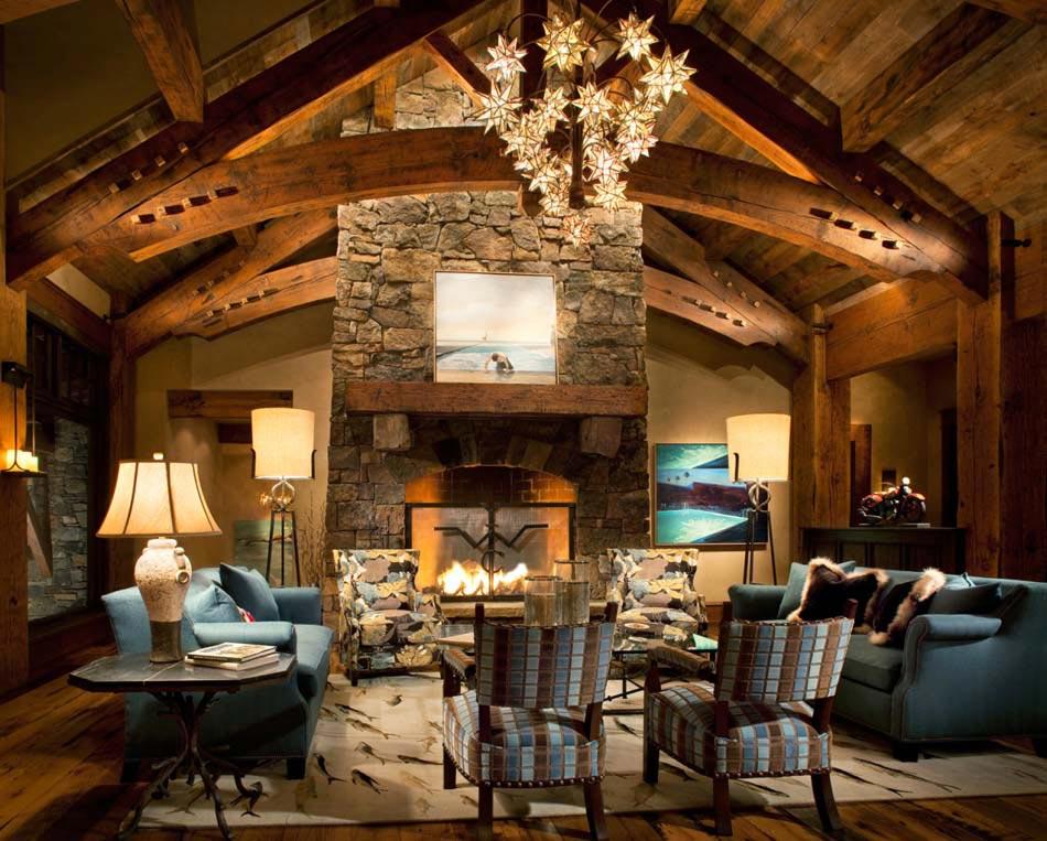S jour accueillant la d coration rustique dans l esprit for Interieur en bois maison