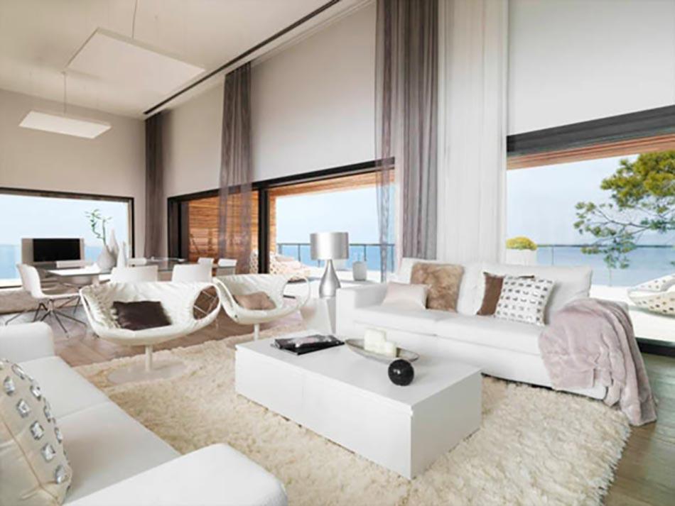 Villa de luxe au design intérieur en blanc