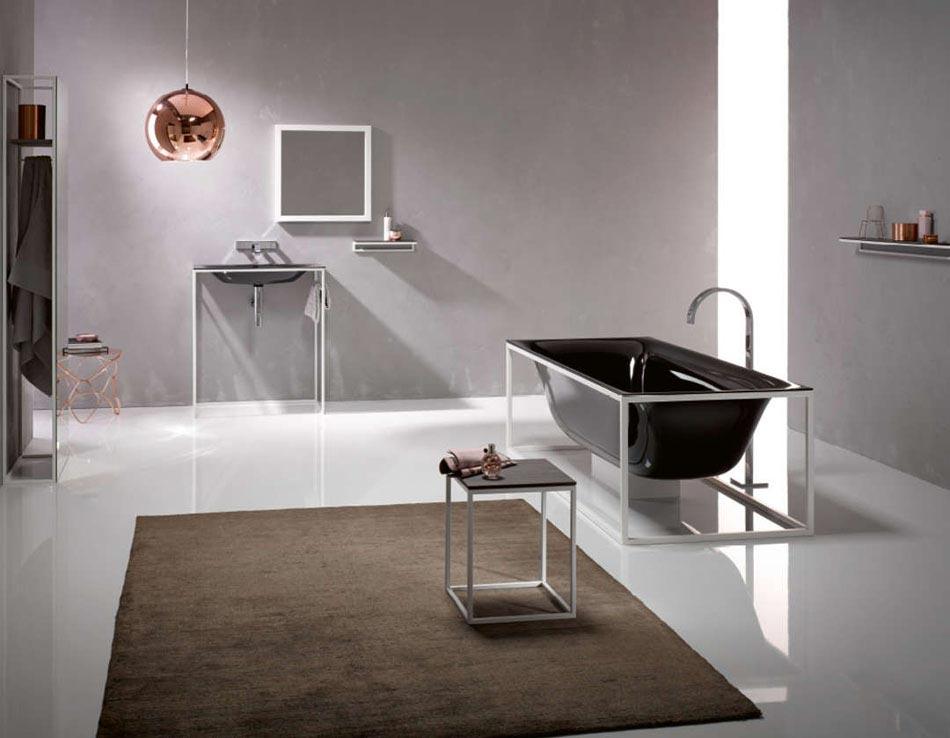 vaste et minimaliste cette salle de bain chic offre un grand espace bien confortable - Salle De Bain Contemporaine Luxe