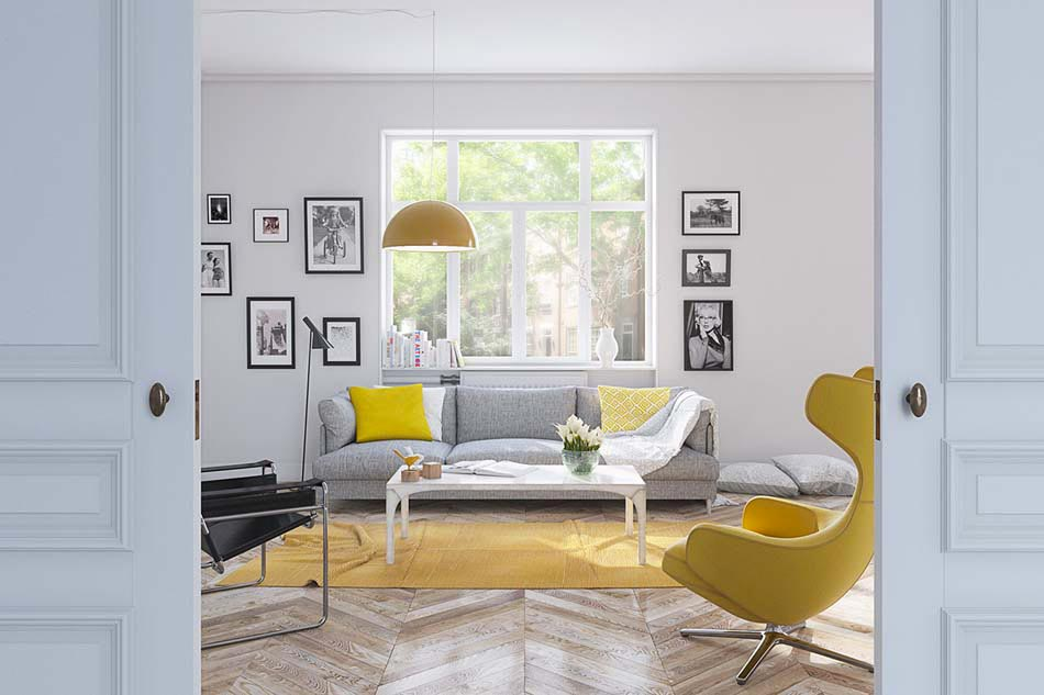 deco salon idees en jaune - Salon Gris Scandinave