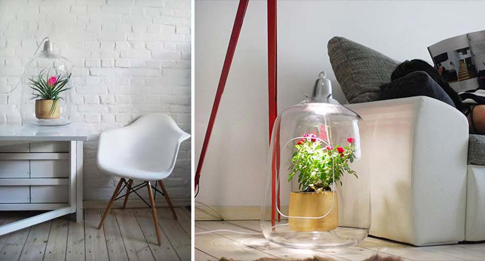 Lampes design cr atif au double r le rendre les plantes belle et l int rieur de la maison for Pot de plante design