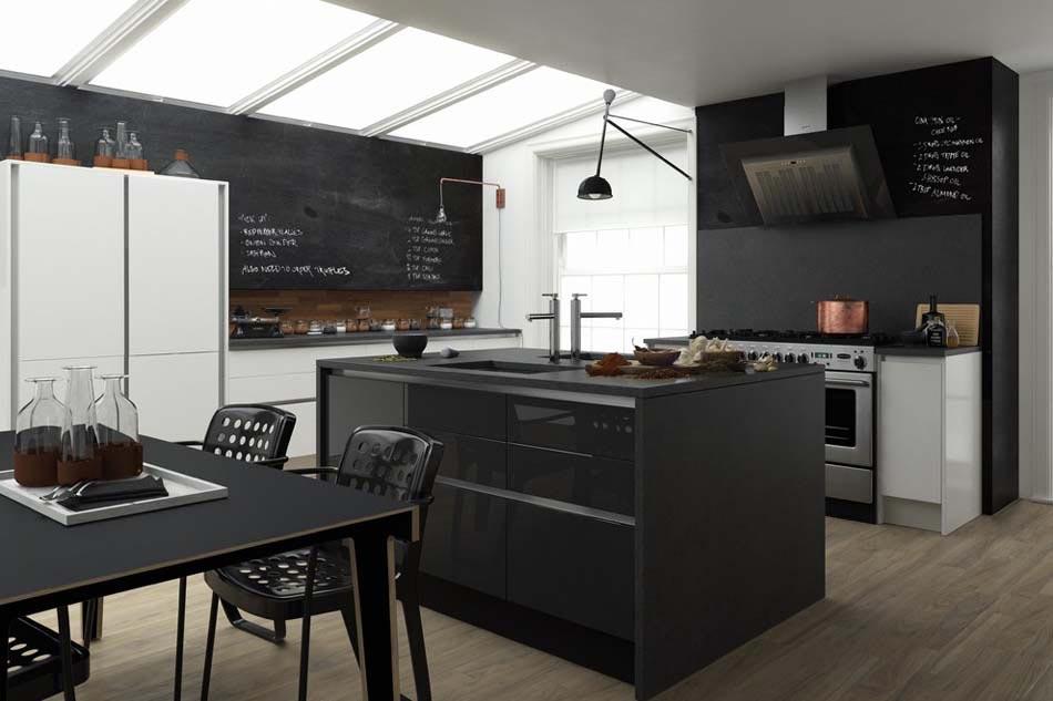 Le tableau noir une id e de d co cuisine cr ative et for Cuisine retro moderne
