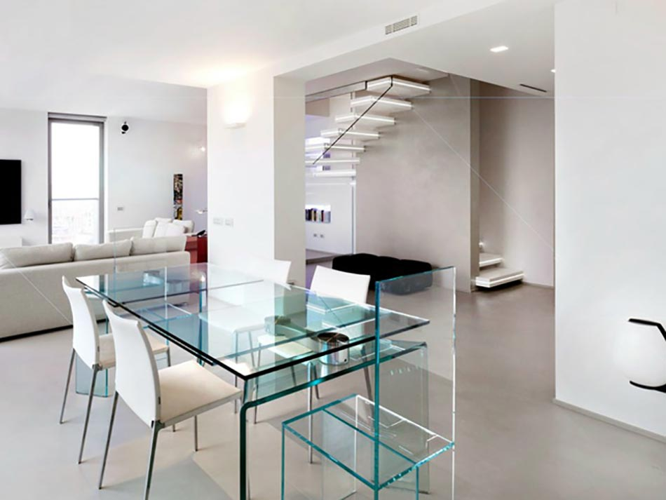 Escalier design lumineux par luxio design feria for Escalier interieur contemporain