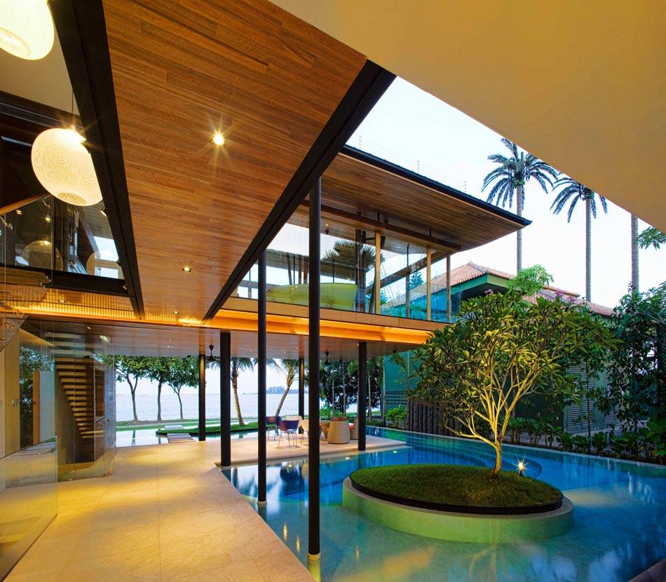 magnifique maison d architecte verte singapour avec belle vue sur l oc an design feria. Black Bedroom Furniture Sets. Home Design Ideas