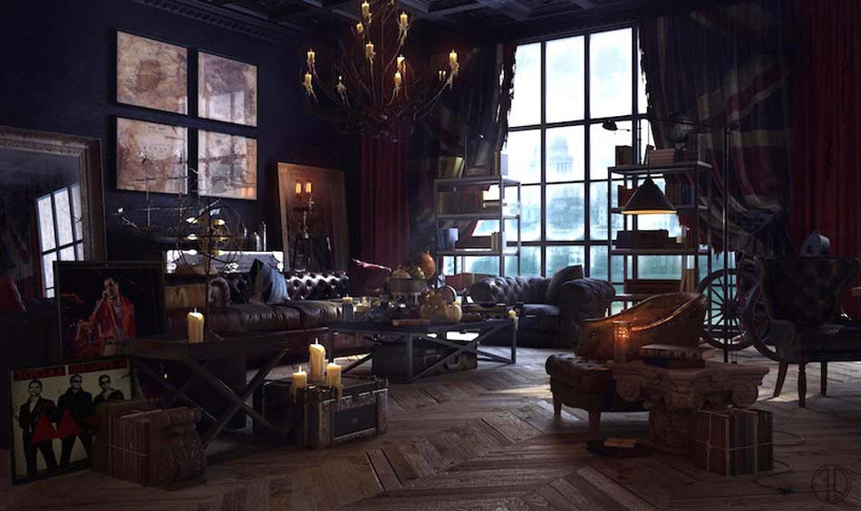 un int rieur de maison la tendance r tro dans l esprit d co steampunk design feria. Black Bedroom Furniture Sets. Home Design Ideas
