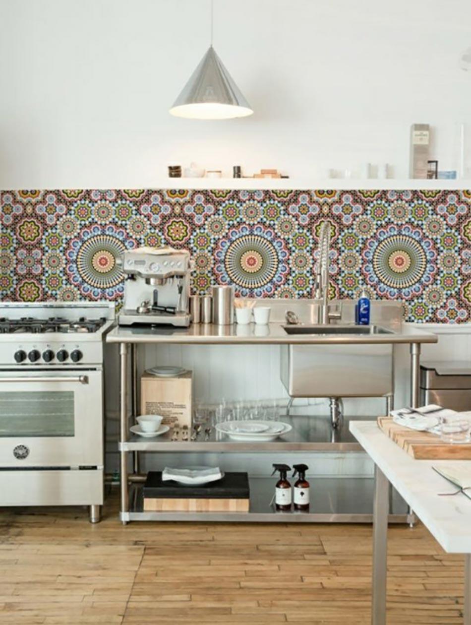 Cuisine la d coration printani re inspir e par les for Credence a poser sur carrelage
