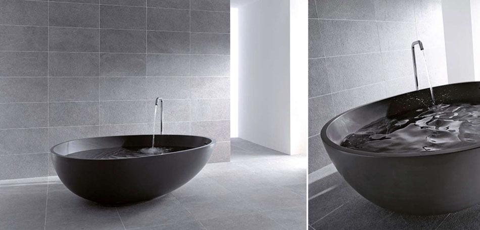 Salle de bain design luxe noir et blanc - Salle de bain de luxebaignoires design ...