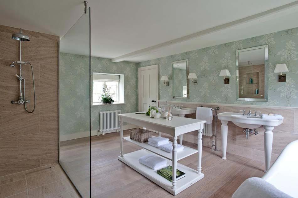 Papier peint salle de bain offrant la possibilit de for Salle de bains design luxe
