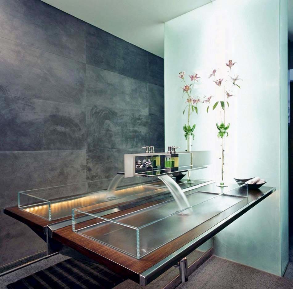 beau et grand ce lavabo en verre compltement transparent embellit totalement la pice - Lavabo Salle De Bain En Verre
