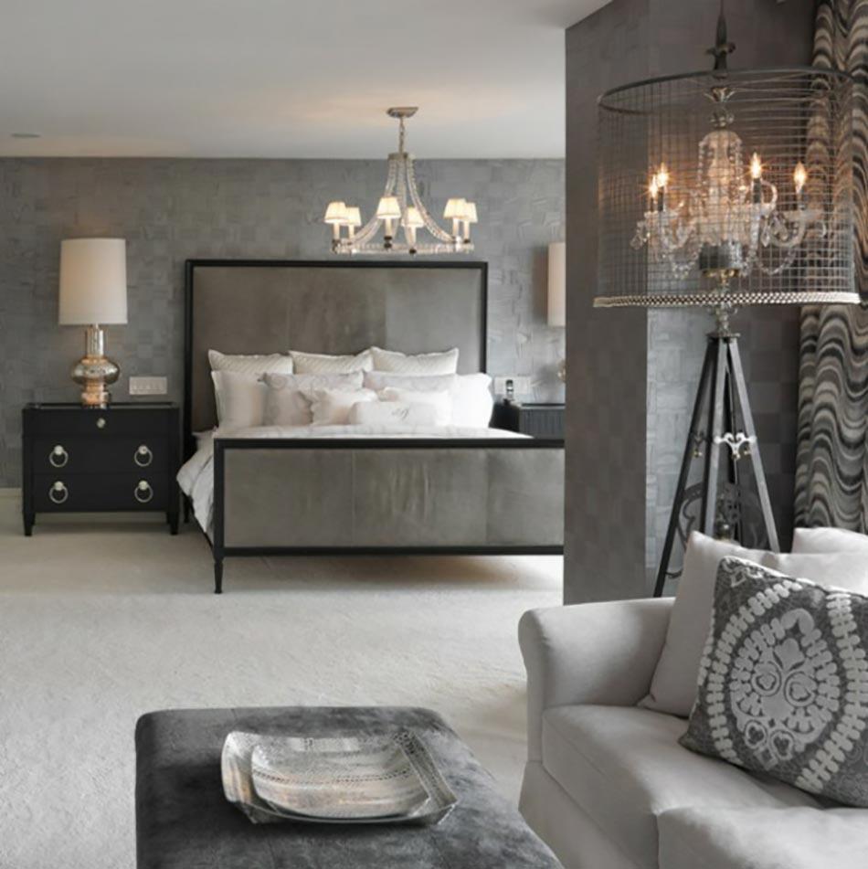 Murs et ameublement chambre tout en gris tendance for Chambre luxueuse