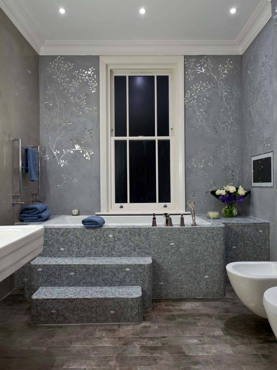 Papier peint salle de bain offrant la possibilit de for Papier peint salle de bain