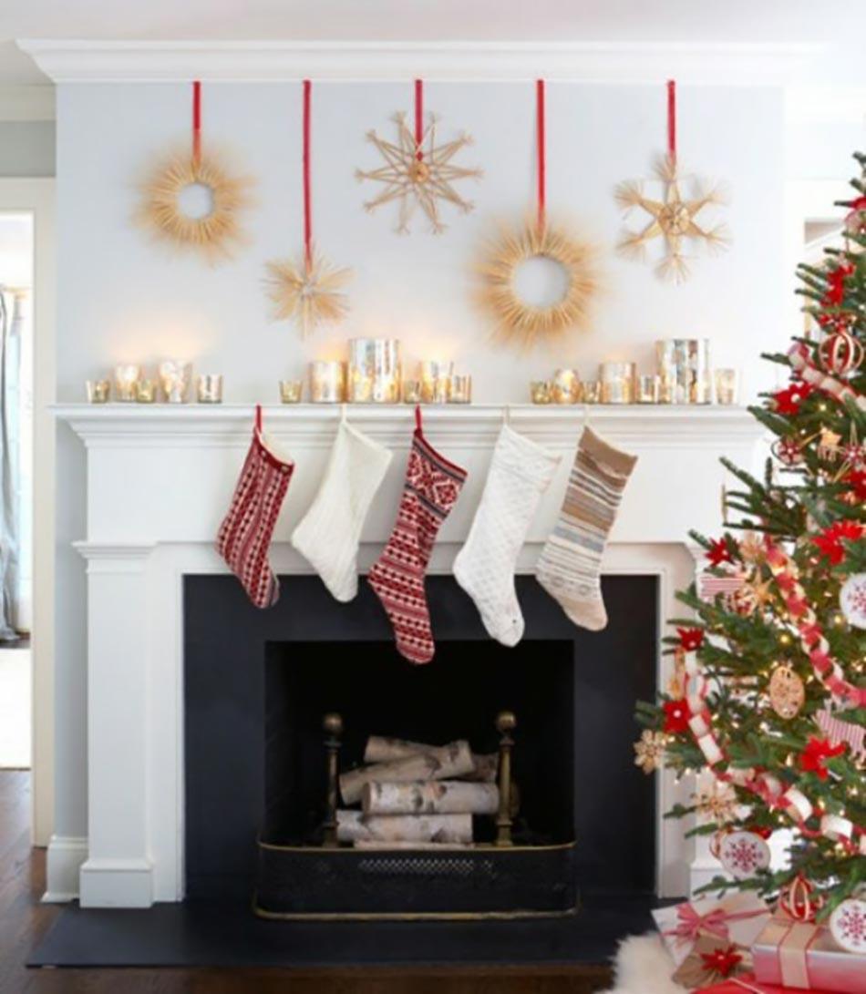 D coration de no l pour un int rieur en rouge design feria - Decoration noel interieur maison ...