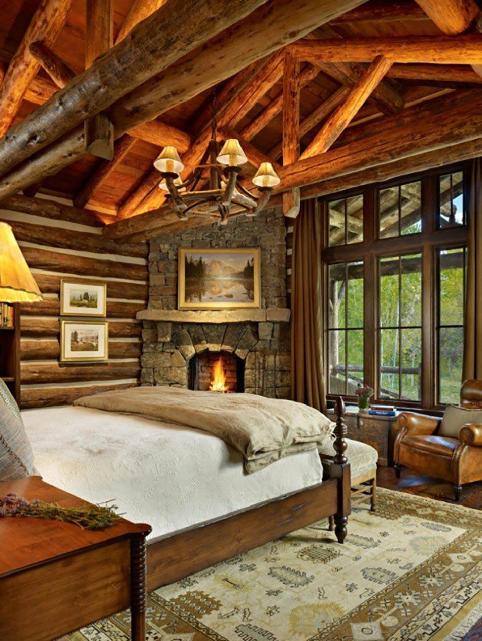 L esprit montagne refl t dans une chambre rustique for Planimetrie della casa con 2 master suite