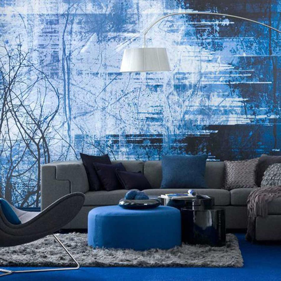 15 id es int ressantes pour d corer un salon dans les tons bleus design feria. Black Bedroom Furniture Sets. Home Design Ideas