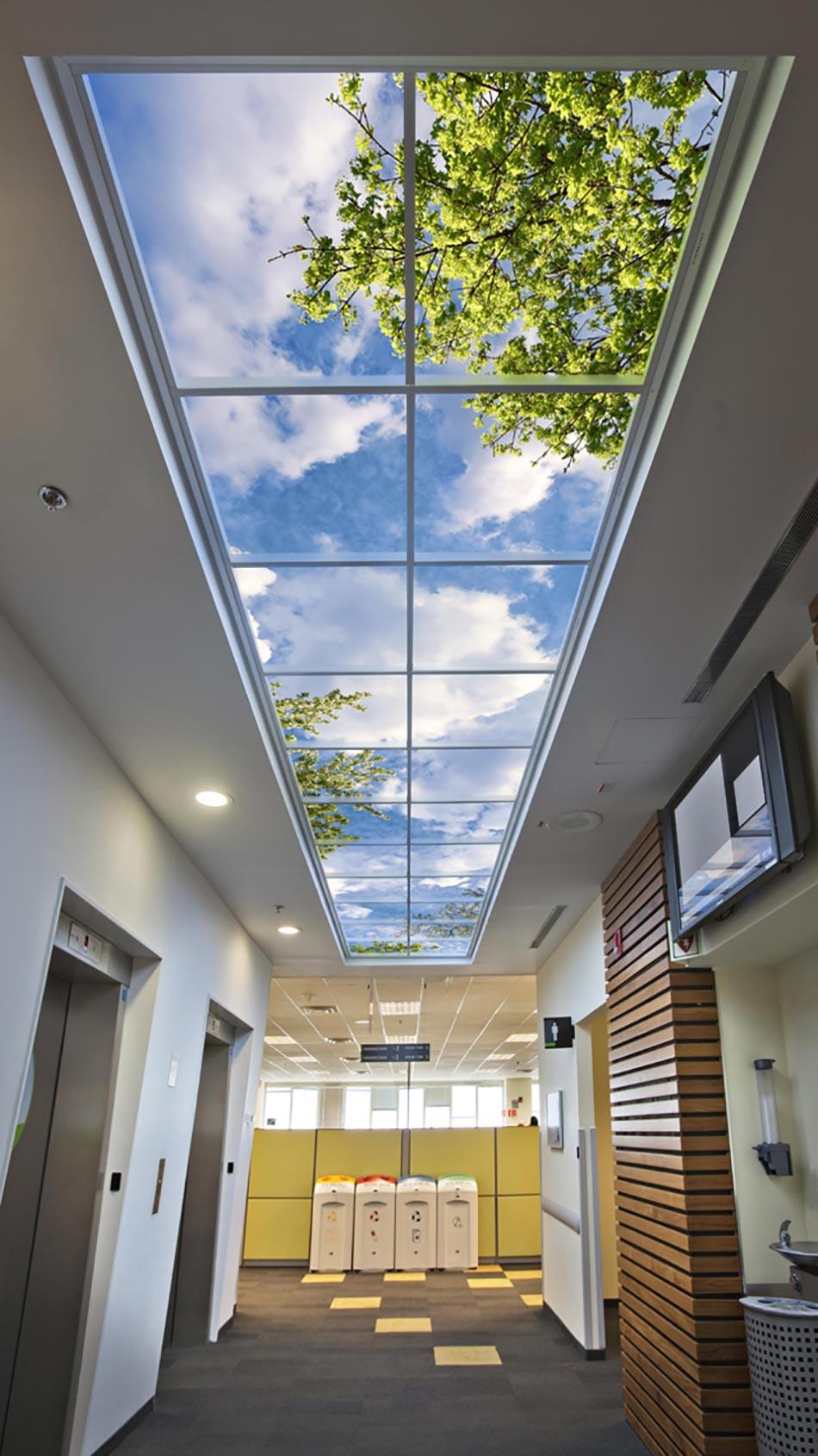 Papier Peint Trompe L Oeil Plafond ciel artificiel ou l'idée déco originale pour illuminer un
