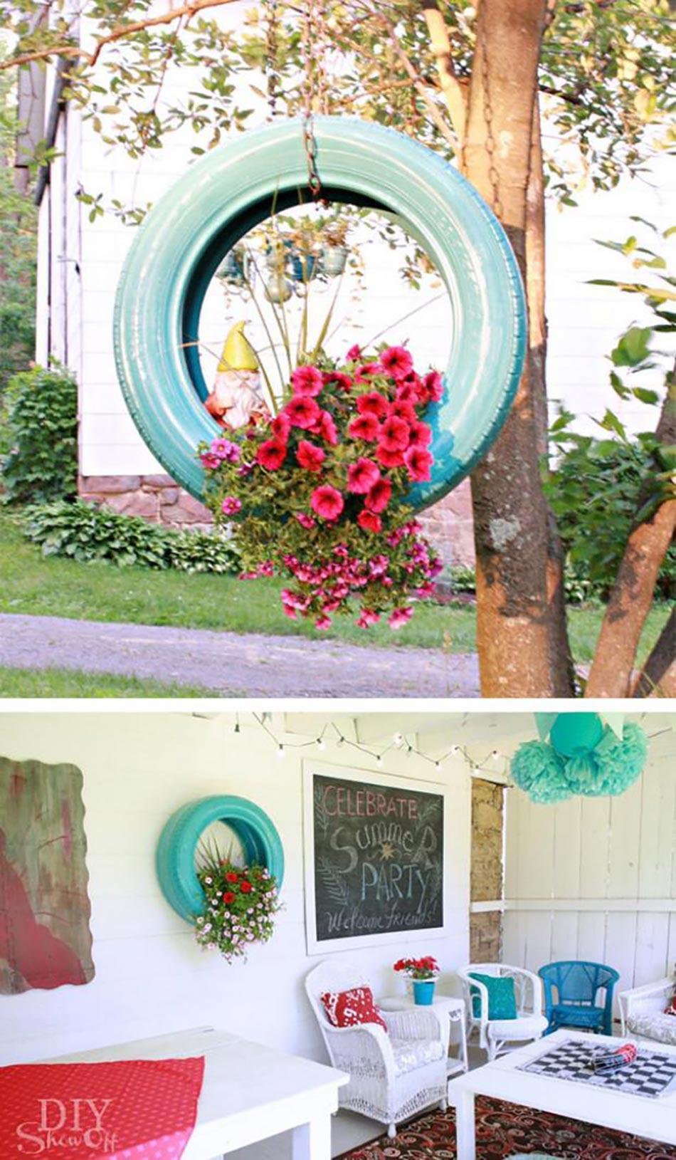 Idées déco pour la maison et le jardin à l\'aide de pneus auto ...