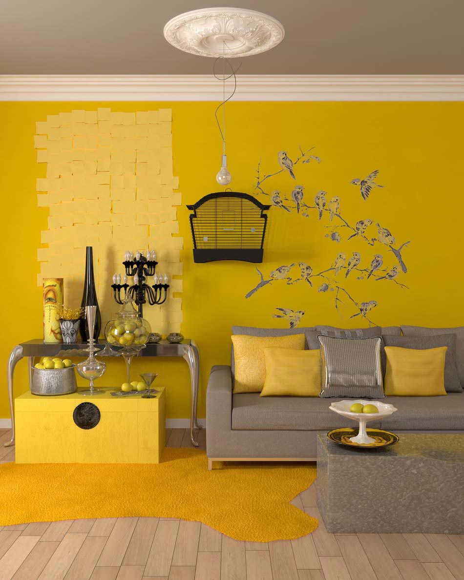 Une d co salon de toute fraicheur aux touches printani res for Decoration jaune