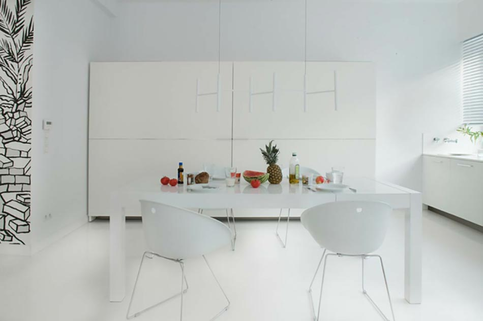 Top salle manger la dcoration entirement en blanc with - Appartement moderne susan manrao design ...