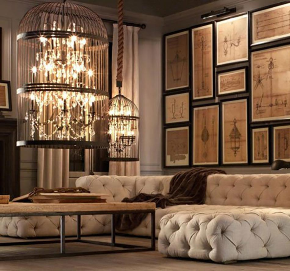 deco vintage un brin romantique avec des voli res design feria. Black Bedroom Furniture Sets. Home Design Ideas