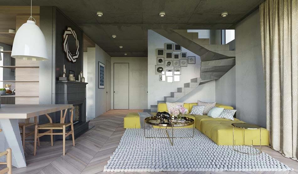Une d co salon de toute fraicheur aux touches printani res en jaune design - Deco interieur moderne ...