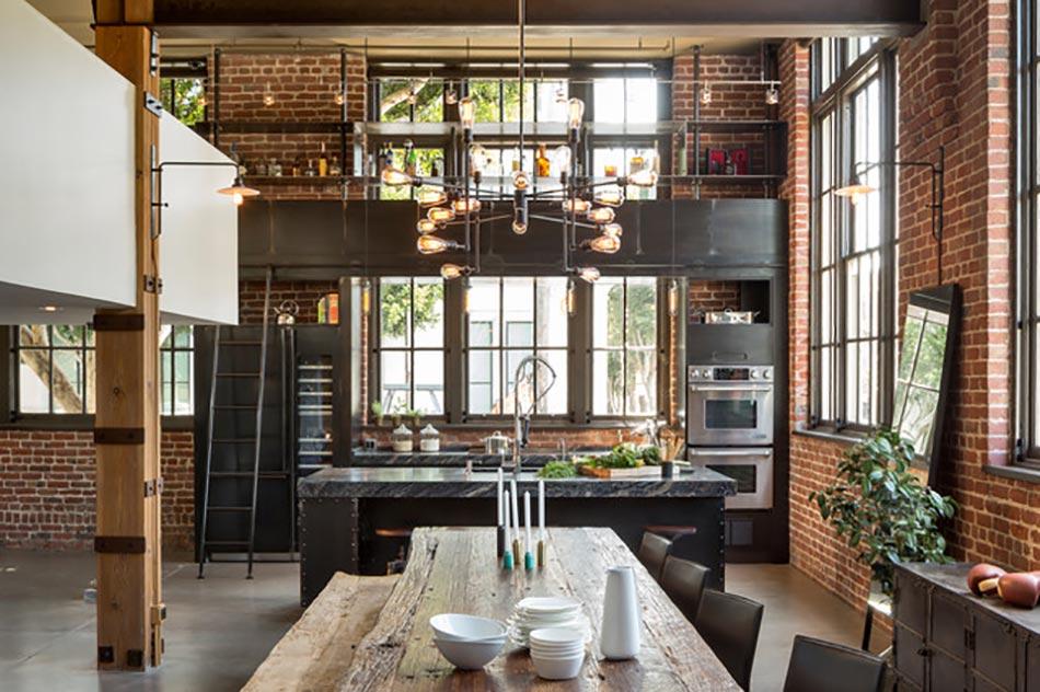 Style industriel pour un loft moderne de ville design feria for Interieur industriel