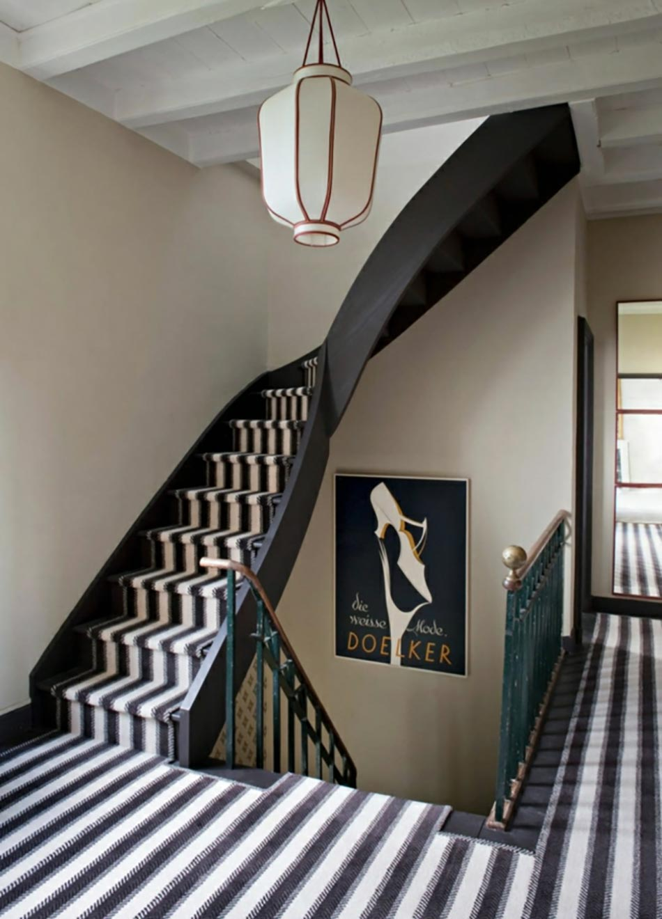 tapis rayures escalier chic