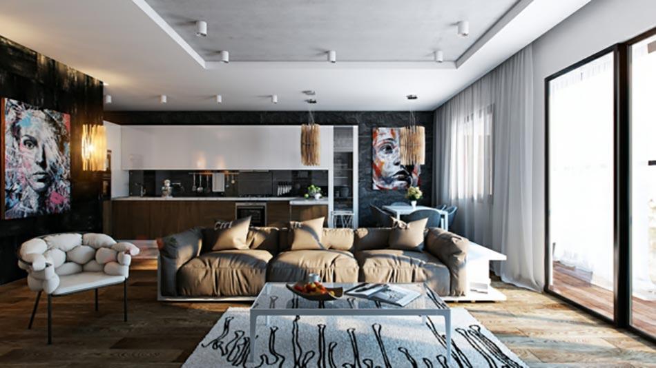 Pi ce de vie moderne dans un petit appartement de ville design feria - Interieur appartement moderne ...
