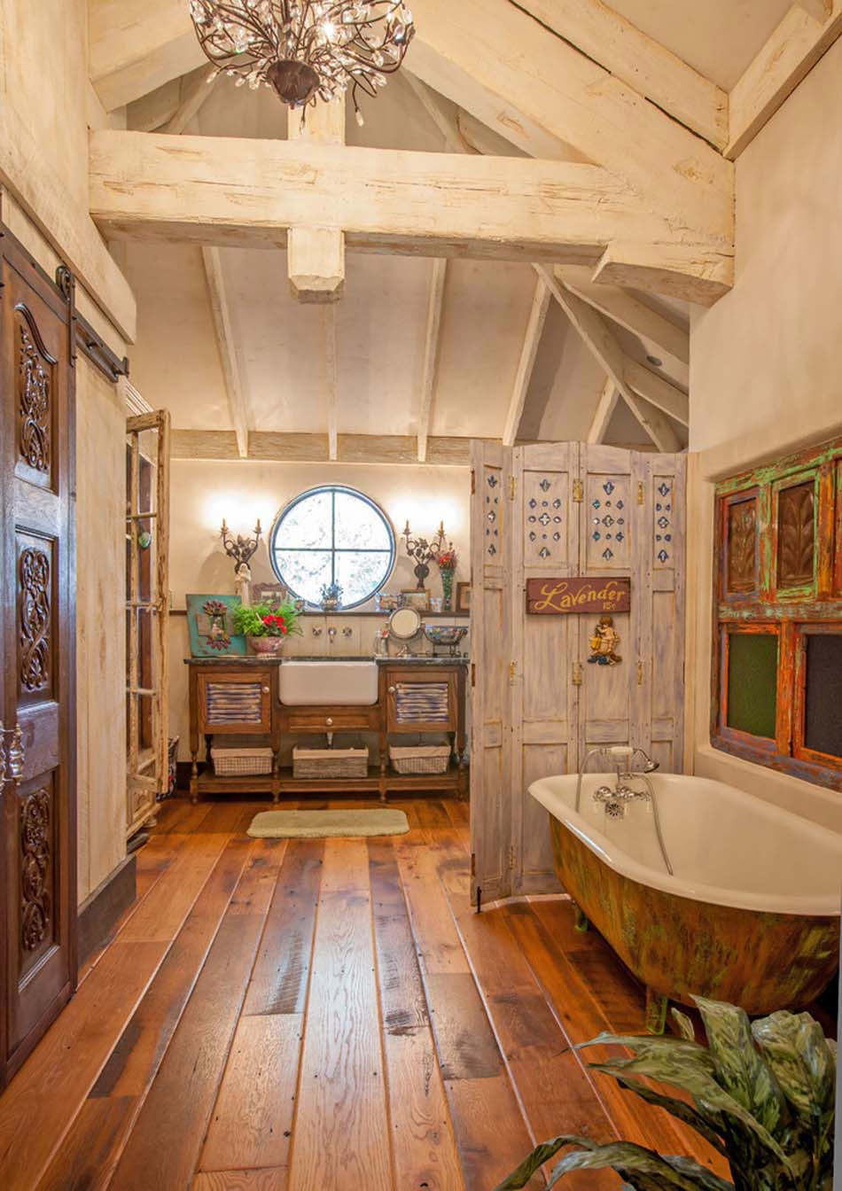 Baignoire de couleur pour relooker et embellir votre salle de bains design feria for Chambre de bain rustique