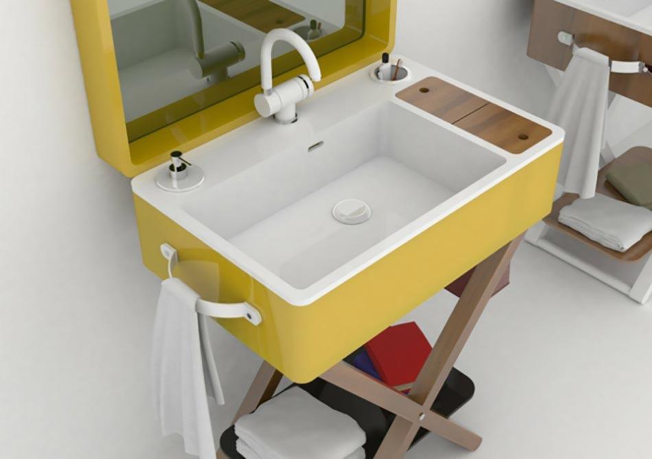 Design Italien Lavabo Portable Salle De Bains. Ce Lavabo Portable Proposé  En Jaune