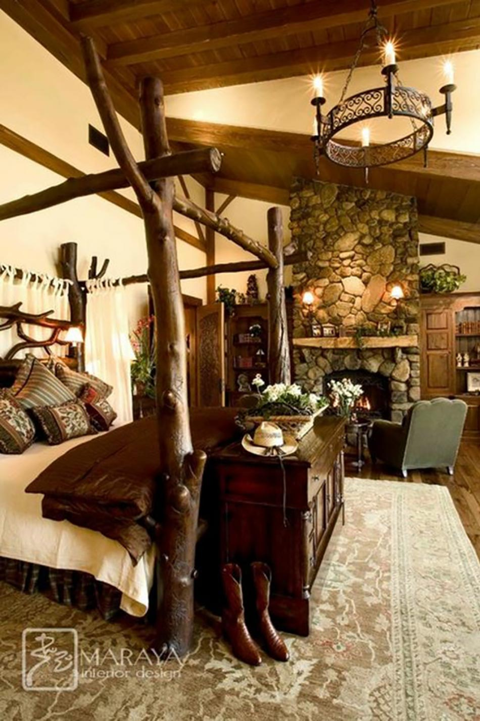 15 chambres de caract re l aide d un lit rustique - Lit baldaquin bois exotique ...