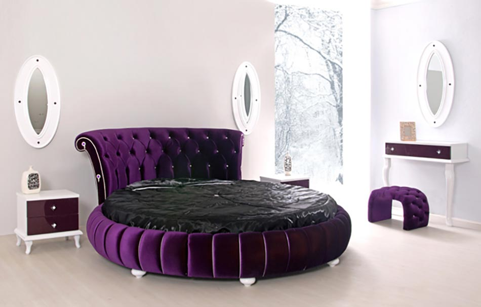 le lit rond trs design la tte de lit capitonne et aux couleurs tendances with lit double rond. Black Bedroom Furniture Sets. Home Design Ideas
