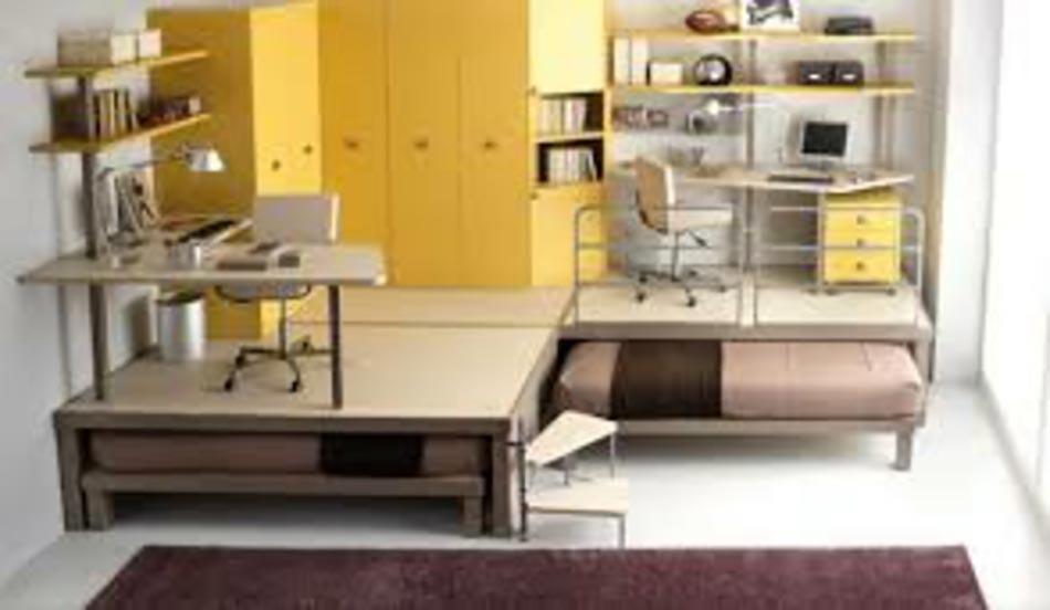 Petit appartement aux lits gagne place design feria for Chambre ado petit espace